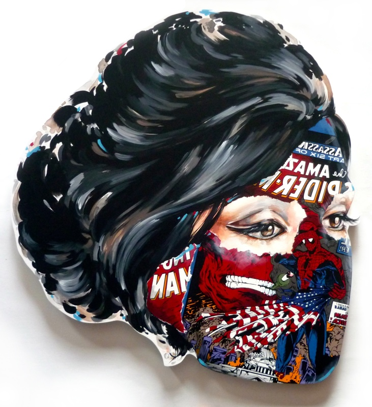 Sandra  Chevrier -  <strong>La Cage et le drapeau déchu</strong> (2015<strong style = 'color:#635a27'></strong>)<bR /> acrylic on hand-carved wood panel,   29 x 31 inches  (73.66 x 78.74 cm)