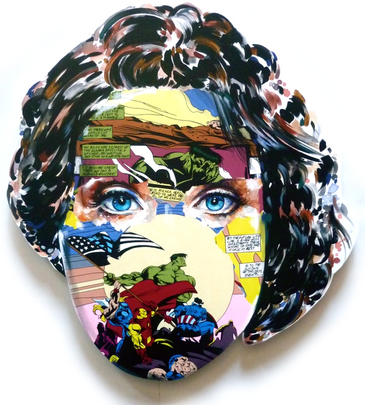 Sandra  Chevrier -  <strong>La Cage et seul le temps nous le dira</strong> (2015<strong style = 'color:#635a27'></strong>)<bR /> acrylic on hand-carved wood panel,   30 x 27 inches  (76.2 x 68.58 cm)
