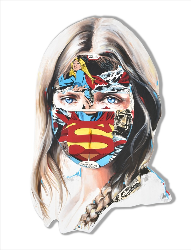 Sandra  Chevrier -  <strong>La Cage où les gens pleurent</strong> (2015<strong style = 'color:#635a27'></strong>)<bR /> acrylic on hand-carved wood panel,   44 x 29 inches  (111.76 x 73.66 cm)