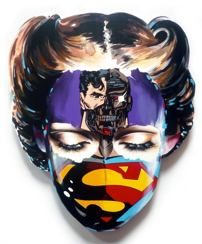 Sandra  Chevrier -  <strong>La Cage où personne ne vous entends crier</strong> (2015<strong style = 'color:#635a27'></strong>)<bR /> acrylic on hand-carved wood panel,   35 x 31 inches  (88.9 x 78.74 cm)
