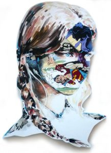 Sandra  Chevrier -  <strong>La Cage quand la guerre est un jeu</strong> (2015<strong style = 'color:#635a27'></strong>)<bR /> acrylic on hand-carved wood panel,   40 x 24 inches  (101.6 x 60.96 cm)