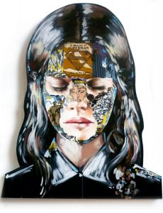 Sandra  Chevrier -  <strong>La Cage et le commencement</strong> (2015<strong style = 'color:#635a27'></strong>)<bR /> acrylic on hand carved wood panel on pedestal,   41 x 34 inches  (104.14 x 86.36 cm)