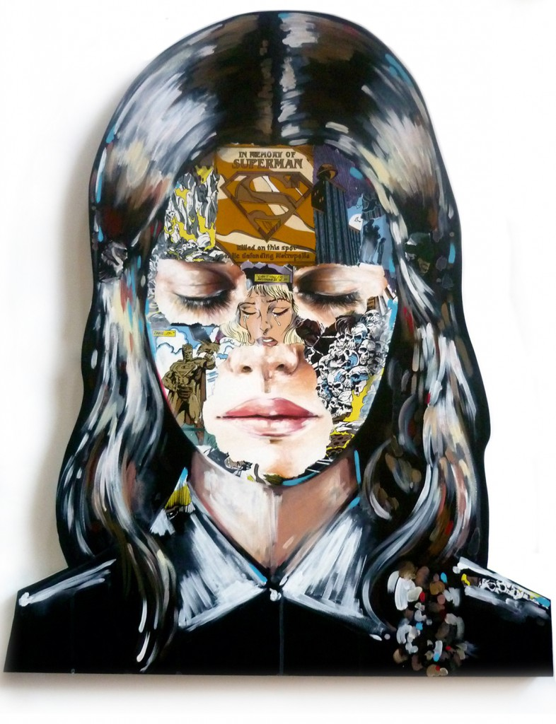 Sandra  Chevrier -  <strong>La Cage et le commencement</strong> (2015<strong style = 'color:#635a27'></strong>)<bR /> acrylic on hand carved wood panel,   41 x 34 inches  (104.14 x 86.36 cm)