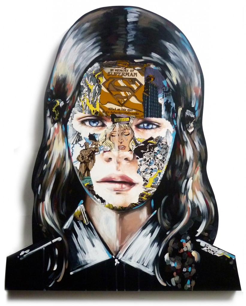 Sandra  Chevrier -  <strong>La Cage triumphante</strong> (2015<strong style = 'color:#635a27'></strong>)<bR /> acrylic on hand carved wood panel,   41 x 34 inches  (104.14 x 86.36 cm)