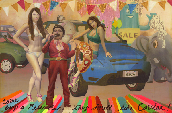 Erik Mark  Sandberg -  <strong>La Puente Auto Sale</strong> (2007<strong style = 'color:#635a27'></strong>)<bR /> Mixed Media on Paper mounted on Panel,   16 x 26 inches