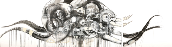 Doze  Green -  <strong>La Pulga</strong> (2008<strong style = 'color:#635a27'></strong>)<bR /> Mixed media on canvas, triptych,   40 x 142 1/4 inches