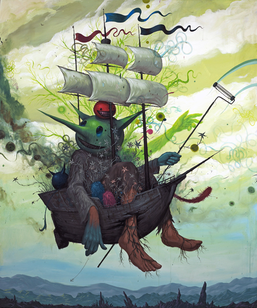 Jeff  Soto -  <strong>Last Voyage</strong> (2010<strong style = 'color:#635a27'></strong>)<bR /> acrylic on panel  72 x 60 inches  (182.88 x 152.4 cm)