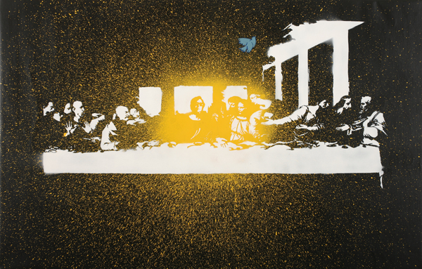 Blek le Rat  &nbsp -  <strong>Dripping Last Supper</strong> (2008<strong style = 'color:#635a27'></strong>)<bR /> Spraypaint on Canvas,   Edition of 1,   32 1/2 x 49 inches