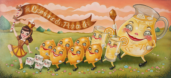 Nouar   &nbsp -  <strong>The Lemonade Parade</strong> (2008<strong style = 'color:#635a27'></strong>)<bR /> oil on panel,   image size: 32 1/2 x 14 1/2 inches,   framed size:18 3/4 x 36 3/4 inches