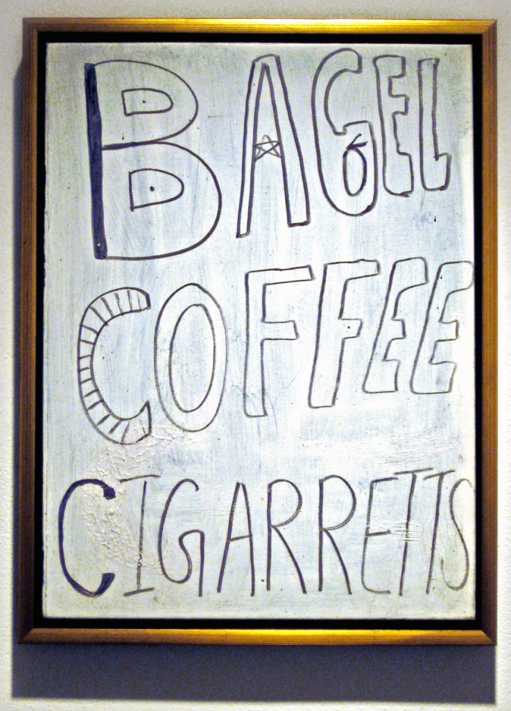 Leo  Fitzpatrick -  <strong>Bagel, Coffee, Cigarettes (and plaque)</strong> (<strong style = 'color:#635a27'></strong>)<bR /> acrylic and sharpie on found canvas,   24 x 18 inches  (60.96 x 45.72)