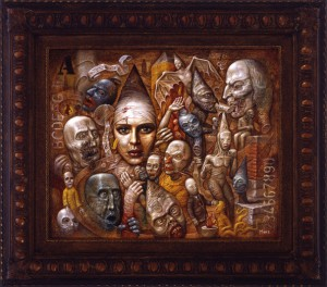 Chris  Mars -  <strong>Let Them Eat Cake</strong> (2005<strong style = 'color:#635a27'></strong>)<bR /> oil on panel,   20 x 24 inches