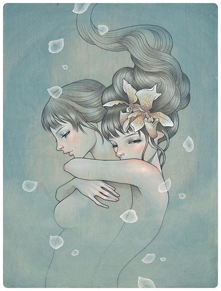 Audrey  Kawasaki -  <strong>Letting Go</strong> (2009<strong style = 'color:#635a27'></strong>)<bR /> UltraChrome print on 300 gsm paper,   15.25 x 11.75 inches (38.74 x 29.85 cm)  18 x 14.5 inches, framed,   Edition 74 of 75