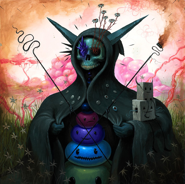 Jeff  Soto -  <strong>Life Bringer</strong> (2010<strong style = 'color:#635a27'></strong>)<bR /> acrylic on panel  24 x 24 inches  (60.96 x 60.96 cm)