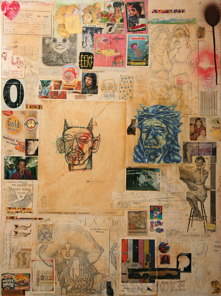 Date Farmers  &nbsp -  <strong>Looking for the Perfect Beat</strong> (2008<strong style = 'color:#635a27'></strong>)<bR /> Mixed Media and Collage,   31 x 23 inches