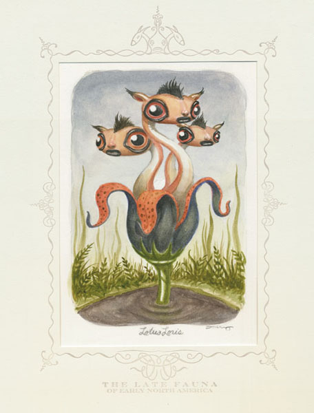 Scott  Musgrove -  <strong>Lotus Loris</strong> (2010<strong style = 'color:#635a27'></strong>)<bR /> watercolor on paper  6 x 4.5 inches (15.24 x 11.43 cm)  12 x 10 inches, framed
