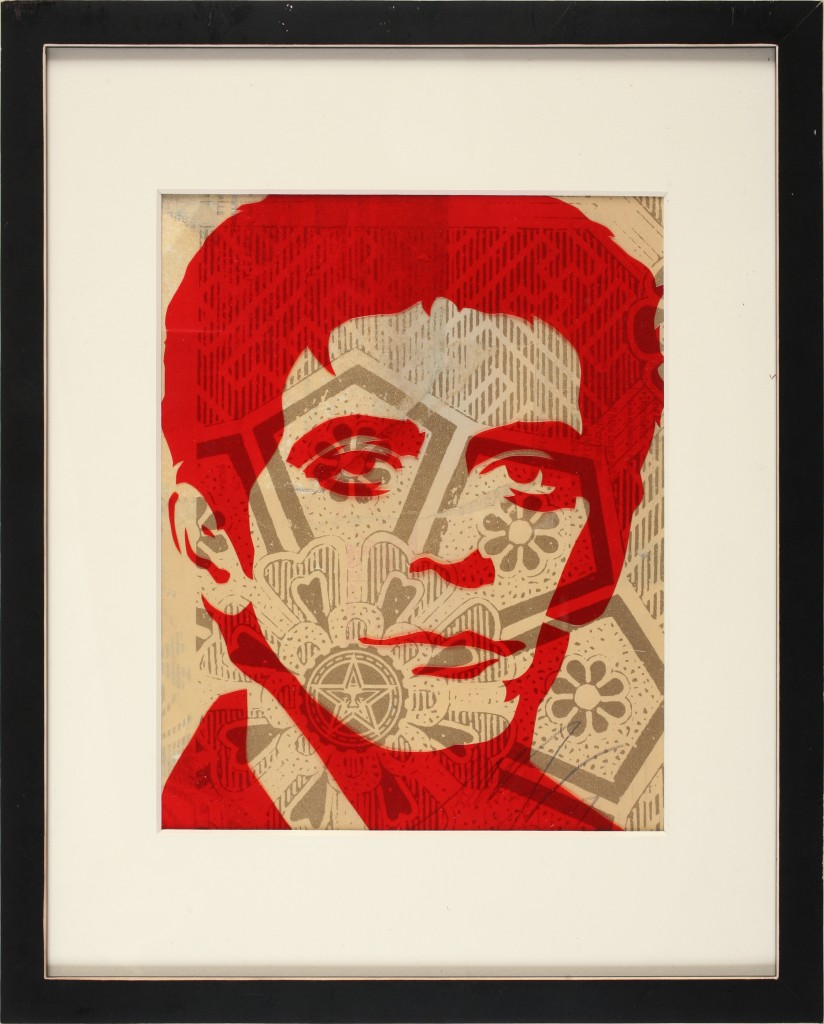 Shepard Fairey -  <strong>Lou Reed</strong> (2007<strong style = 'color:#635a27'></strong>)<bR /> stencil on collaged paper
