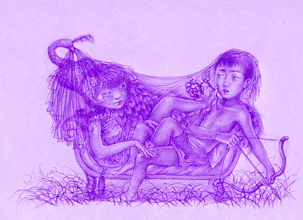"""Xiaoqing  Ding -  <strong>Lover Seat</strong> (2007<strong style = 'color:#635a27'></strong>)<bR /> Ballpoint Pen on Paper,   Image Size: 9 x 11 inches,   <span style=""""font-family: Helvetica;"""">Framed size: 13 1/2 x 16 inches</span>"""