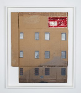 EVOL    -  <strong>Low Reflection Area</strong> (2014<strong style = 'color:#635a27'></strong>)<bR /> spray paint on cardboard,   33.13 x 26.75 inches  (84 x 68 cm)  38 x 31.7 inches, framed