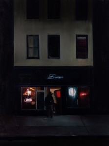Brett Amory -  <strong>Lucy's (Waiting #255)</strong> (2015<strong style = 'color:#635a27'></strong>)<bR /> oil on canvas,   48 x 60 inches  (121.92 x 452.4 cm)
