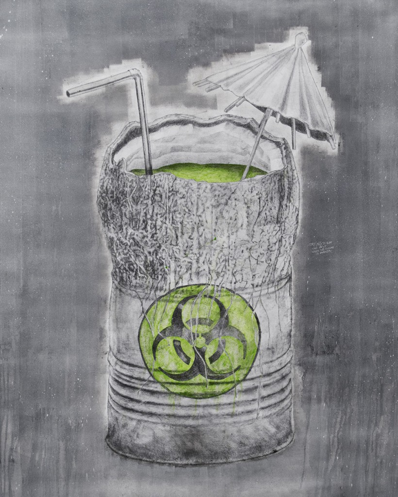 Ludo  &nbsp -  <strong>Bio-Hazard (Trying to buff the past when the future is darker)</strong> (2013<strong style = 'color:#635a27'></strong>)<bR /> graphite, oil, spray paint and oil stick on canvas,   58 x 48 inches  (147.32 x 121.92 cm)
