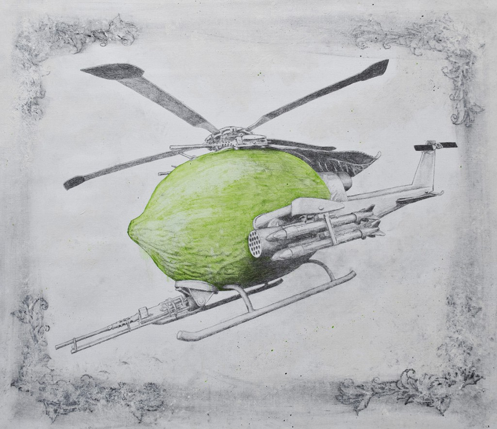 Ludo  &nbsp -  <strong>Drone</strong> (2013<strong style = 'color:#635a27'></strong>)<bR /> graphie, oil, spray paint and oil stick on canvas,   48 x 56 inches  (121.92 x 142.24 cm)