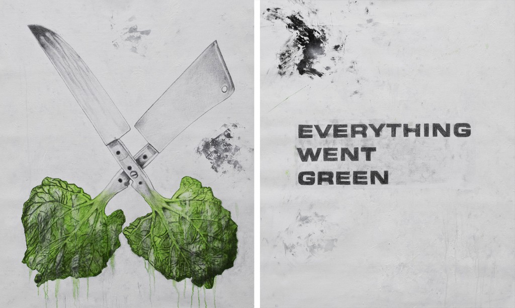 Ludo  &nbsp -  <strong>Everything Went Green</strong> (2013<strong style = 'color:#635a27'></strong>)<bR /> graphite, oil and spray paint on canvas,   44 x 38 inches, each  (111.7 x 96.52 cm)