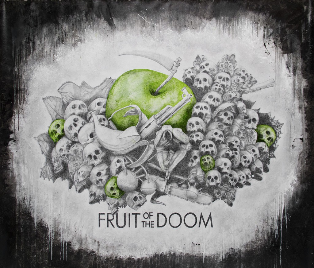 Ludo  &nbsp -  <strong>Fruit of the Doom</strong> (2013<strong style = 'color:#635a27'></strong>)<bR /> graphite, oil and spray paint on canvas,   96 x 78 inches  (238.76 x 198.12 cm)