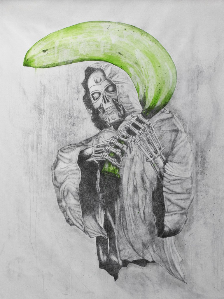 Ludo  &nbsp -  <strong>Green Reaper</strong> (2013<strong style = 'color:#635a27'></strong>)<bR /> graphite, oil, spray paint and oil stick on canvas,   78 x 60 inches  (198.12 x 152.40 cm)