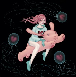 Tara  McPherson -  <strong>The Love Space Gives Is as Deep as the Oceans</strong> (2010<strong style = 'color:#635a27'></strong>)<bR /> oil on linen, stretched over panel,   48 x 48 inches  (121.92 x 121.92 cm)