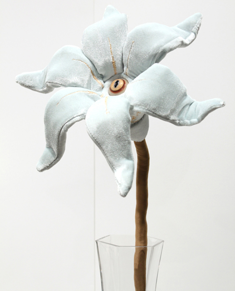 Tara  McPherson -  <strong>The Day's Eye (Blue)</strong> (2010<strong style = 'color:#635a27'></strong>)<bR /> polyester, stretch velvet, bamboo fiber, polyfil, wire and glass eye,   20 x 9 x 6.5 inches  (50.8 x 22.86 x 16.51 cm)