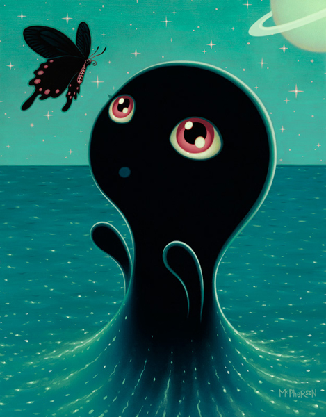 Tara  McPherson -  <strong>The Umibozu Wish</strong> (2010<strong style = 'color:#635a27'></strong>)<bR /> oil on linen, stretched over panel,   18 x 14 inches   (45.72 x 35.56 cm)
