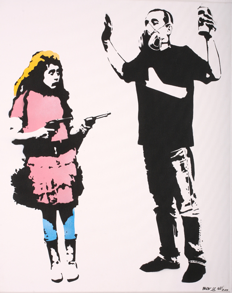 Blek le Rat  &nbsp -  <strong>Man and Girl</strong> (2007<strong style = 'color:#635a27'></strong>)<bR /> Spraypaint on Canvas,   31 7/9 x 25 3/5 inches