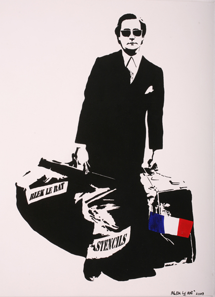 Blek le Rat  &nbsp -  <strong>Man Who Walks Through Walls</strong> (2007<strong style = 'color:#635a27'></strong>)<bR /> Spraypaint on Canvas,   Edition 3 of 10,   30 1/4  x 22 inches