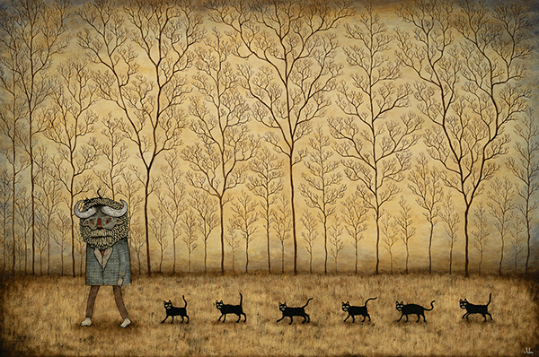 Andy  Kehoe -  <strong>March of the Exiled</strong> (2009<strong style = 'color:#635a27'></strong>)<bR /> acrylic and oil on panel,   image size: 24 x 36 inches,   framed size: 28 3/4 x 40 1/2 inches