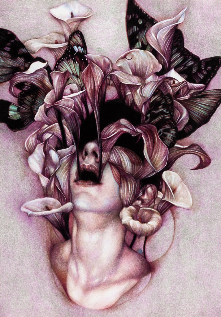 Marco  Mazzoni -  <strong>Euphoria</strong> (2012<strong style = 'color:#635a27'></strong>)<bR /> colored pencil on paper,   25.625 x 17.75 inches (65 x 45 cm)  32 x 24 inches, framed