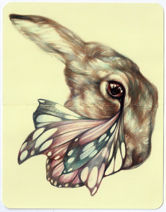 Marco  Mazzoni -  <strong>God Has Always Had the Power</strong> (2013<strong style = 'color:#635a27'></strong>)<bR /> colored pencil and ink on moleskine paper,   7 x 5.5 inches  (18 x 14 cm)  11.25 x 9.75 inches, framed