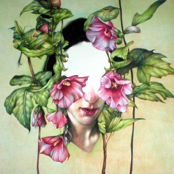 Marco  Mazzoni -  <strong>Hibiscus</strong> (2010<strong style = 'color:#635a27'></strong>)<bR /> colored pencil on paper,   17.75 x 17.75 inches (45 x 45 cm)  20.75 x 20.5 in (52.7 x 52.07 cm), framed