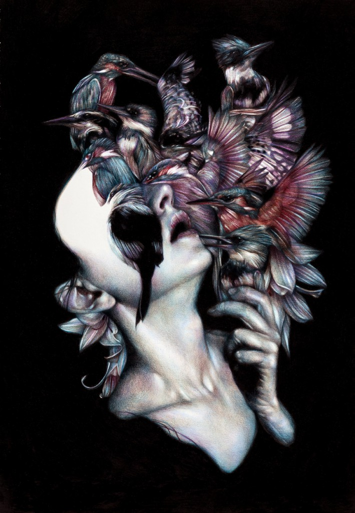 Marco  Mazzoni -  <strong>Kalos, Eidos, Scopeo</strong> (2012<strong style = 'color:#635a27'></strong>)<bR /> colored pencil on paper,   25.625 x 17.75 inches (65 x 45 cm)  32 x 24 inches, framed