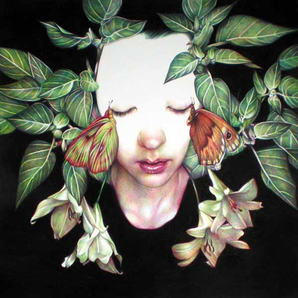 Marco  Mazzoni -  <strong>Lilium</strong> (2010<strong style = 'color:#635a27'></strong>)<bR /> colored pencil on paper,   17.75 x 17.75 inches (45 x 45 cm)  20.75 x 20.5 in (52.7 x 52.07 cm), framed