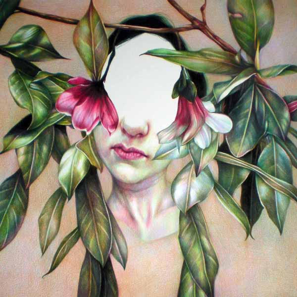 Marco  Mazzoni -  <strong>Magnolia</strong> (2010<strong style = 'color:#635a27'></strong>)<bR /> colored pencil on paper,   17.75 x 17.75 inches  (45 x 45 cm)  20.75 x 20.5 inches, framed