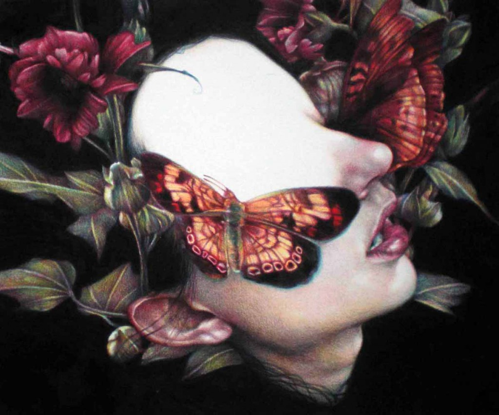 Marco  Mazzoni -  <strong>Menade</strong> (2011<strong style = 'color:#635a27'></strong>)<bR /> colored pencil on paper,   9.875 x 11.75 inches (25 x 30 cm)  framed dimensions TBD