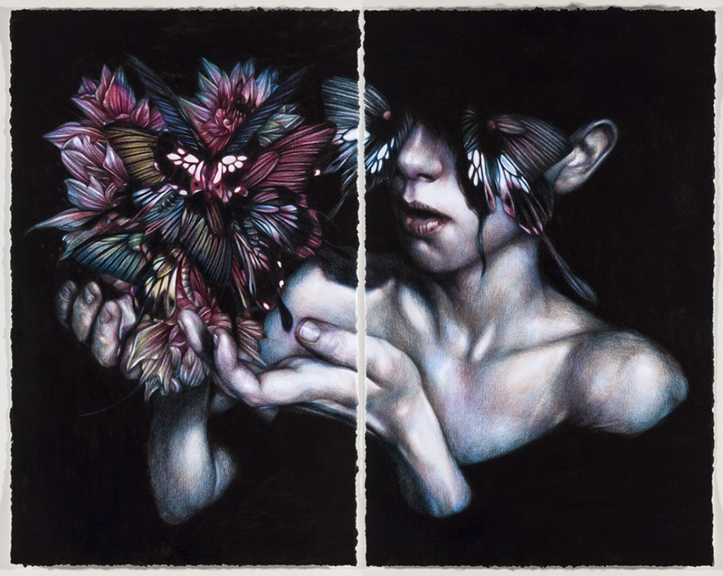 Marco  Mazzoni -  <strong>Mono No Aware</strong> (2013<strong style = 'color:#635a27'></strong>)<bR /> colored pencil on paper,   18 x 24 inches  (48 x 61 cm)  24 x 29.125 inches, framed