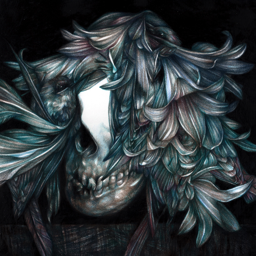 Marco  Mazzoni -  <strong>My My Hey Hey</strong> (2013<strong style = 'color:#635a27'></strong>)<bR /> colored pencil on paper,   11.81 x 11.81 inches  (30 x 30 cm)  16.25 x 16.25 inches, framed