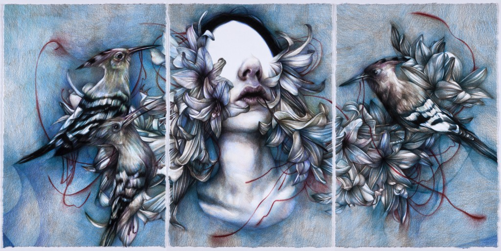 Marco  Mazzoni -  <strong>Self Esteem</strong> (2013<strong style = 'color:#635a27'></strong>)<bR /> colored pencil on paper,   17.72 x 36.22 inches  (45 x 92 cm)  22.875 x 41.375 inches, framed