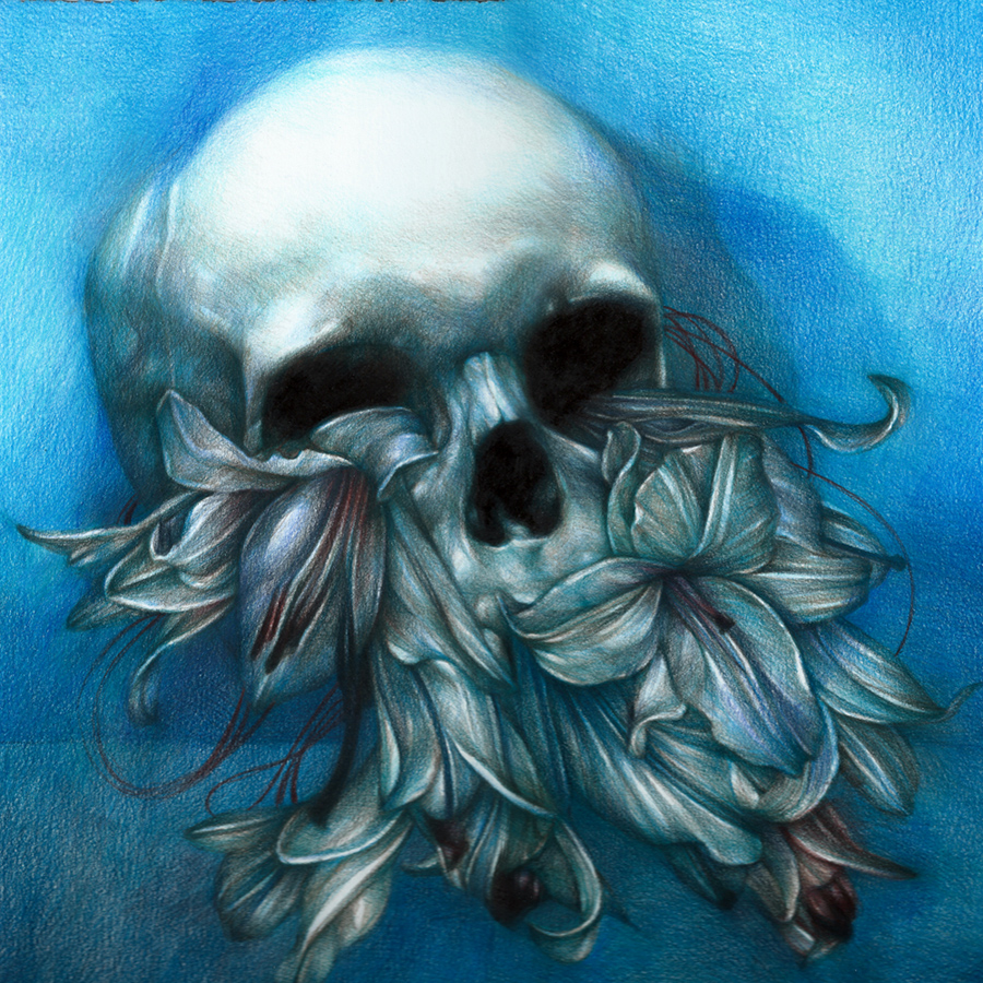 Marco  Mazzoni -  <strong>The First Day of the Rest of Your Life</strong> (2013<strong style = 'color:#635a27'></strong>)<bR /> colored pencil on paper,   11.81 x 11.81 inches  (30 x 30 cm)  16.25 x 16.25 inches, framed