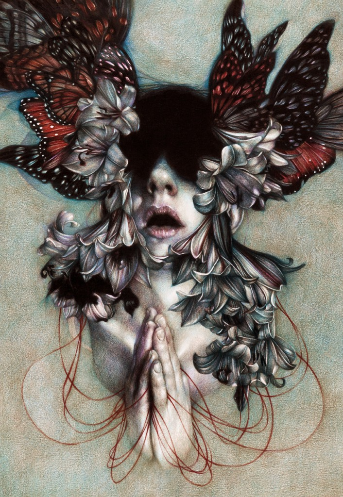 Marco  Mazzoni -  <strong>The Hell as an Empty Space</strong> (2012<strong style = 'color:#635a27'></strong>)<bR /> colored pencil on paper,   25.625 x 17.75 inches (65 x 45 cm)  32 x 24 inches, framed