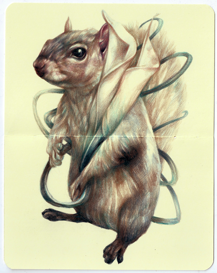 Marco  Mazzoni -  <strong>The Policeman</strong> (2013<strong style = 'color:#635a27'></strong>)<bR /> colored pencil and ink on moleskine paper,   7 x 5.5 inches  (18 x 14 cm)  11.25 x 9.75 inches, framed
