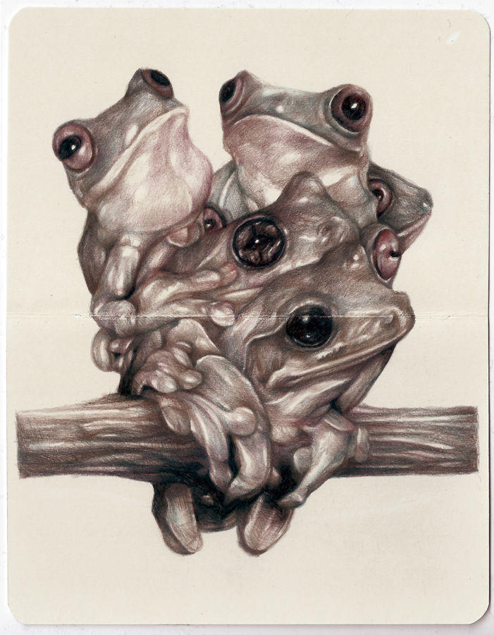 Marco  Mazzoni -  <strong>The Viewers</strong> (2013<strong style = 'color:#635a27'></strong>)<bR /> colored pencil and ink on moleskine paper,   7 x 5.5 inches  (18 x 14 cm)  11.25 x 9.75 inches, framed