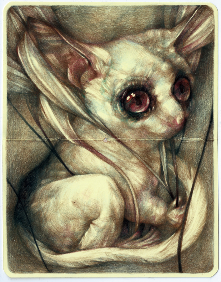 Marco  Mazzoni -  <strong>The Widower</strong> (2013<strong style = 'color:#635a27'></strong>)<bR /> colored pencil and ink on moleskine paper,   7 x 5.5 inches  (18 x 14 cm)  11.25 x 9.75 inches, framed