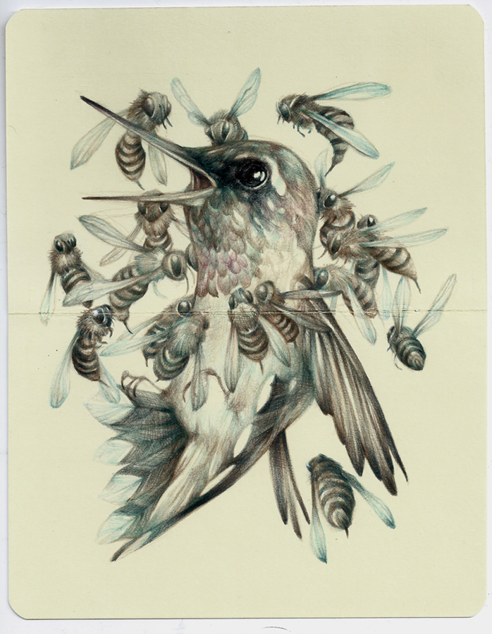 Marco  Mazzoni -  <strong>This Means War</strong> (2013<strong style = 'color:#635a27'></strong>)<bR /> colored pencil and ink on moleskine paper,   7 x 5.5 inches  (18 x 14 cm)  11.25 x 9.75 inches, framed